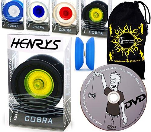 Schwarze Schmetterlinge Dvd (Henrys YoYo COBRA + Lernen Yo Yo Tricks DVD + Reisetasche! Yoyo profi für Kinder und Erwachsene! AXYS-Systemachse Slider mit High-Speed-Lager. (Schwarz/Gelb))