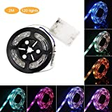 AOLVO 1m/2m 6.6ft IP65Wasserdicht Flexible Farbe Farbwechselnde RGB SMD 505060LED DC 5V batteriebetriebenen LED Lichtleiste mit Mini Controller, 2 m