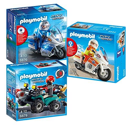 Playmobil City Action - Motorrad Set - 5544 Notarzt-Motorrad, 6876 Polizeimotorrad und 6879 Gangster-Quad