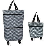 Carrello per la spesa con ruote, riutilizzabile e portatile, pieghevole, con cinghie per le mani, carrello pieghevole