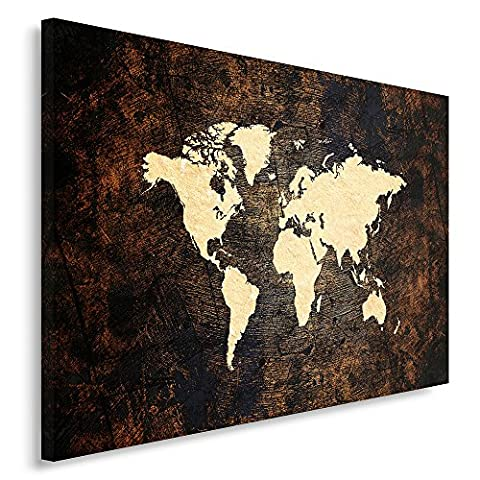 Feeby. Single Panel Print, Wall Art Picture, Image Printed on Canvas, 70x100 cm, WORLD MAP, MODERN, BROWN