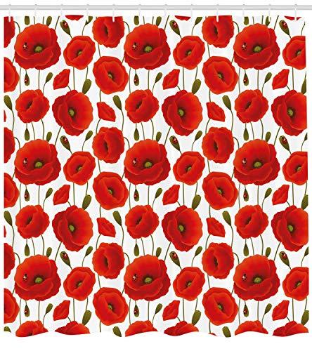 SRJ2018 Mohn Duschvorhang Frühlingsblumen Marienkäfer Tiere Pflanzen Flora Fauna Natur Stoff Badezimmer Dekor Set Rot Olivgrün (Duschvorhang Marienkäfer)