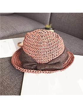LVLIDAN Sombrero para el sol del verano Dama SolAnti-Sol Playa pescador sombrero de paja plegable rosa Englishstyle