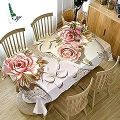 Idea Regalo - FaceToWind Tovaglia 3D Tovaglia moderna minimalista in cotone e lino Tovaglia impermeabile Tavola rotonda Tavolino da caffè Tavolo da pranzo Copertura antipolvere Panno Rose Peonia Stampa, 140X220cm