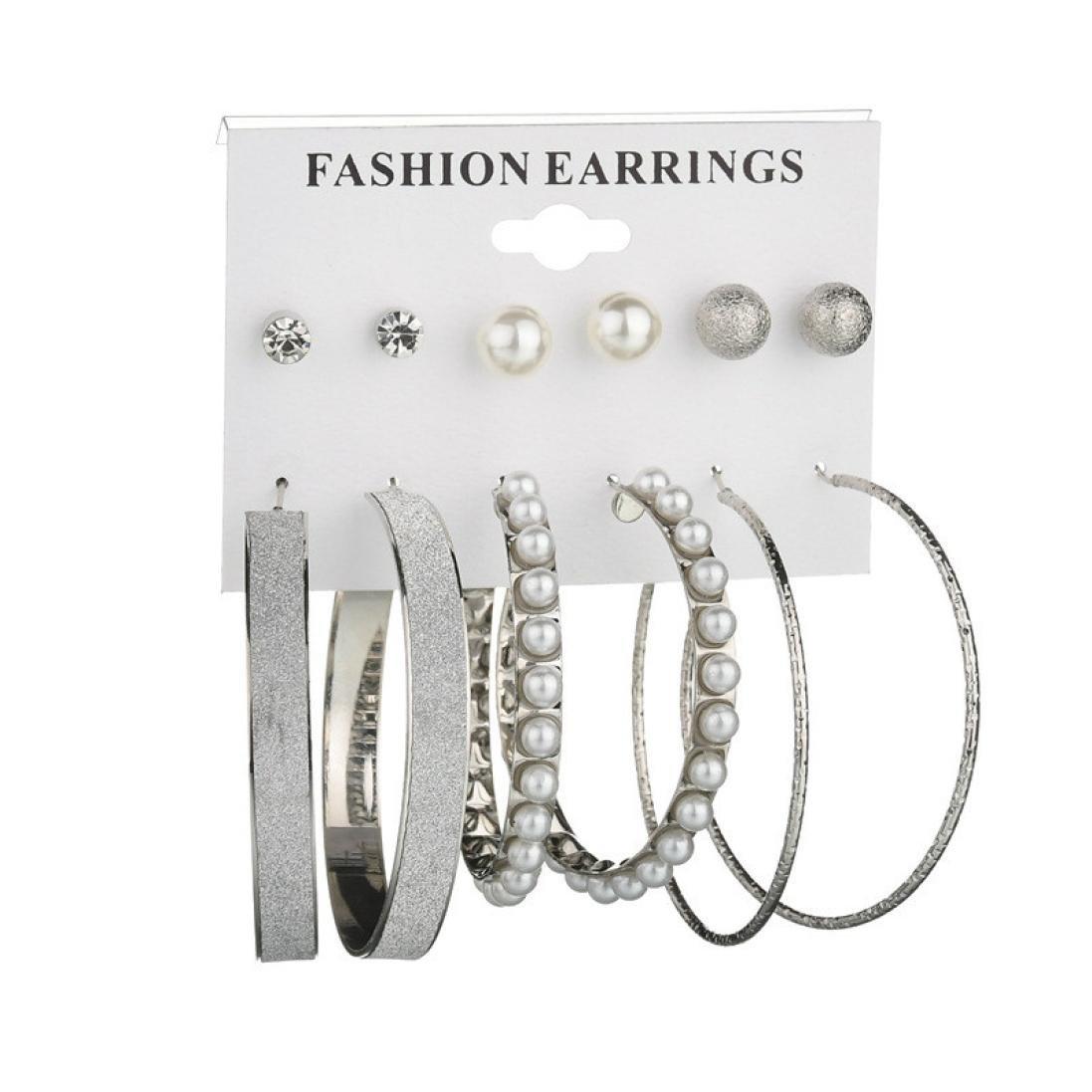 Earrings Set Of 6,Round Hoop Earrings,Pearl Earrings,Ladies Earrings Sale Clearance,Beautytop Drop Stud Earrings,Gifts For Women Under 5 Pounds,Jewellery Sets,Mothers Day Gift