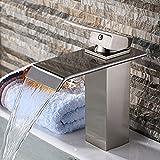 InChant Moderne Deck Berg Einhand-Wasserfall-Badezimmer Vanity-Wannen-Hahn Centerset Bar Vessel Toilette-Hahn-Mischer Wannenarmaturen Berühren Sie auf Badezimmer-Armaturen (Nickel gebürstet)