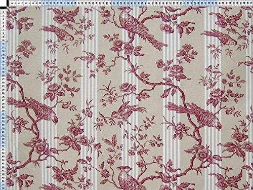 Tessuto da tappezzeria, rivestimento in tessuto, tessuto da tappezzeria, tessuto, tessuto della tenda, tessuto - Loriot, beige rosso - tessuto toile de Jouy con strisce sottili, elementi floreali e uccelli di