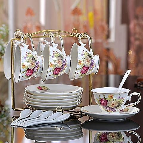 In Stile Europeo Tazza Di Caffè Di Ceramica Set Con Mensole Floreali, 6 Tazze 6 Singole,HH