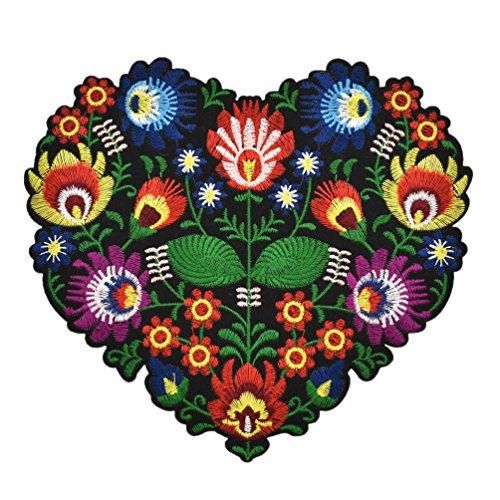 Hongma Ricamato Patch Toppa Ricamata Applique Embroidery con Ferro da Stiro Cuore Fiore per Vestito Cappello Scarpe Jeans
