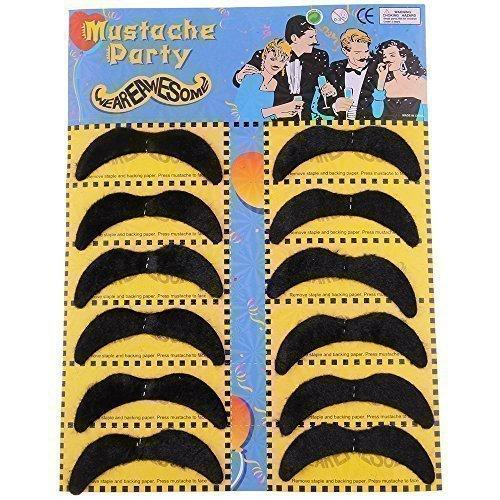 Bärte Fake Perücken Und (WeAreAwesome Schnurrbart Set F 12 Stück Bart Mix schwarz Mexiko zum Ankleben Klebebärte falsche Bärte)