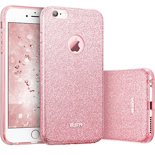 Funda iPhone 6 Plus/ 6S Plus, ESR Funda Case Carcasa Dura Brillante Brillo Purpurina llamativa para Apple iPhone 6 Plus/6S Plus - Rosa dorado