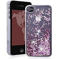 SMARTLEGEND Diamante Rigida Cover per iPhone 4 iPhone 4S, Bling Glitter Strass Sabbie Mobili PC Duro Custodia Trasparente Hard Case Ultra Protettiva Shockproof Durevole Copertura Caso - Rosa