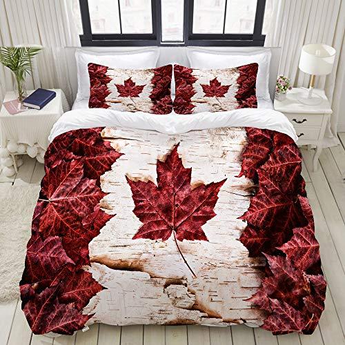 FOURFOOL Bettwäsche-Set,Flagge von Kanada konstruiert vom Land-Symbol der Ahornblatt-weißen Birkenrinde,Dekoratives 3-teiliges Bettwäscheset mit 2 Kissenbezügen,King Size(200 x 200cm)