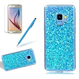 Girlyard Silikon Glitzer Hülle für Galaxy S9, Luxus Variable Farbe Pailletten Muster Shinning Case Weiche TPU Bling Backcover Ultra Dünn Flexibel Rubber Etui und Anti Rutsch Kratzfeste Schutzhülle für Samsung Galaxy S9 - Blau