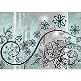 Vlies Fototapete PREMIUM PLUS Wand Foto Tapete Wand Bild Vliestapete - Ornamente Blumen Blüte Ranke Blätter Streifen - no. 2454, Größe:312x219cm Vlies