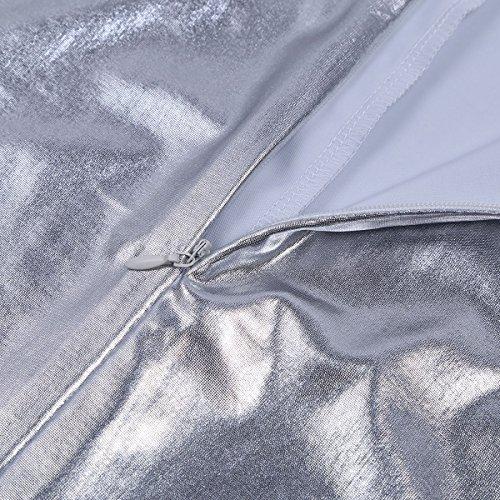 Freebily Herren Unterhemd Lackleder Wetlook T-shirt Wetlook Bodysuit Herren Body Unterwäsche Slip schwarz Erotik Kleidung Dessous Clubwear Silber