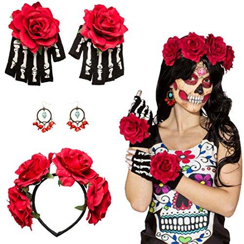 La Catrina Kostüm Set Mexikanerin Accessoire Haarreif, Ohrringe, Handschuhe Kostümzubehör Dia de los Muertos Schmuck Mexikanisches Totenfest Tag der Toten Halloweenkostüm Totenkopf Dark Fashion