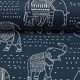 Premier Prints / Canvas/Elefanten, Jeansblau/Taschenstoff /