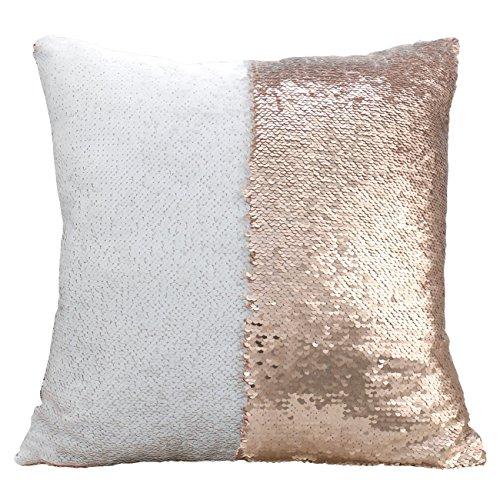 Luxbon Doppel Farbe Glitter Meerjungfrau Pailletten Funkeln Kissenbezug Wurfkissen DIY Dekokissen 40 x 40cm Champagner und Weiß