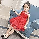 XM Filles d'été en trois dimensions robe de fleurs robe de princesse gaze jupe robe des enfants,rouge,15 mètres