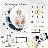 Couverture Etape Bébé FRANÇAIS, Couverture Photo Mensuelle, Tapis Mois Bébé, Cadeau Naissance Garçon, Cadeau Personnalisé, Co