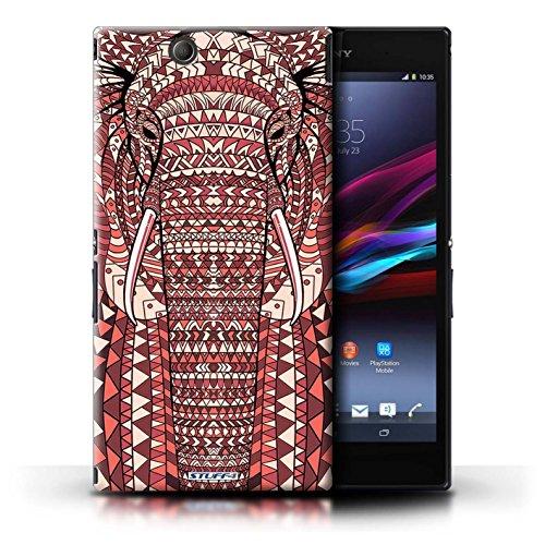 Kobalt® Imprimé Etui / Coque pour Sony Xperia Z Ultra / Loup-Rouge conception / Série Motif Animaux Aztec éléphant-Rouge