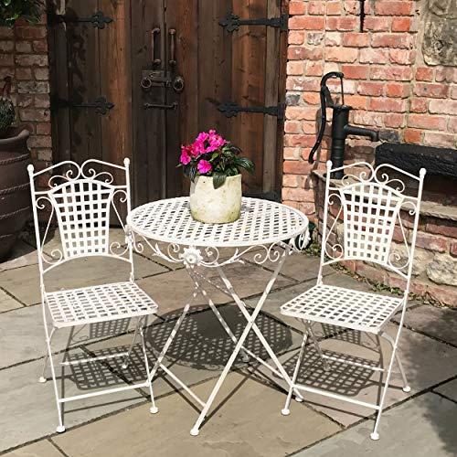 Eisen-bistro-stuhl (GlamHaus Garten-Bistro-Set aus Metall, faltbar, 3-teilig, Gartenmöbel, Balkonmöbel, Klapptisch und 2 Stühle, Antik-Cremefarben, schöne handgefertigte Vintage-Essgruppe für den Außenbereich)