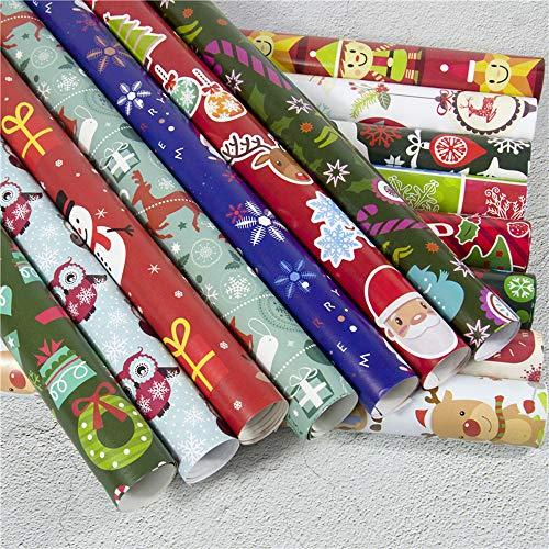 Bescita Weihnachtspapier Ausgewählte Serien schönes Geschenkpapier Weihnachten, Hochwertige Geschenkverpackung mit Sterne für Geburtstage, Ostern oder Weihnachten - 3 Rollen (C)