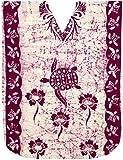 LA LEELA Mujeres Caftán Algodón túnica Batik Kimono Libre tamaño Largo Maxi Vestido de Fiesta para Loungewear Vacaciones Ropa de Dormir Playa Todos los días Cubrir Vestidos Marrón_M368