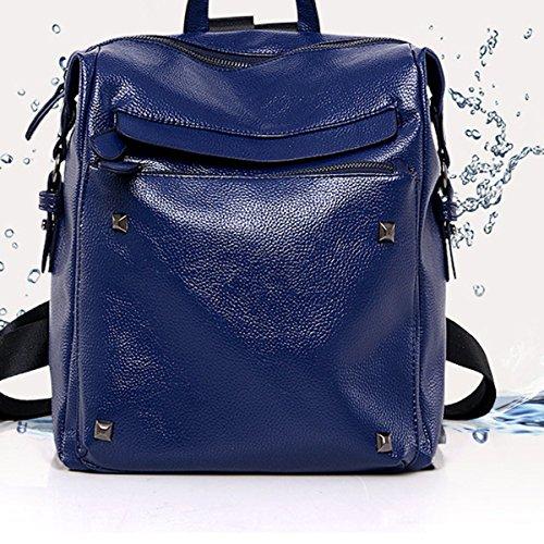 PU Donne Moda Impermeabile Portabile Semplice Morbido Zaino Borsa Nero Blu Blue