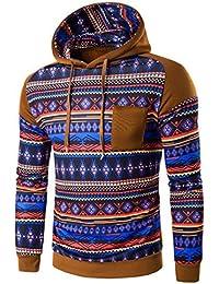 OverDose Los hombres retro bohemio de manga larga con capucha Sudadera con capucha Tops Outwear la capa de la chaqueta