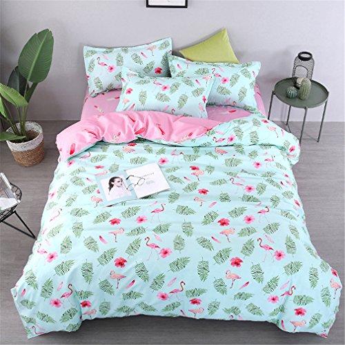 DOTBUY Bettbezug Set, 3 Stück Super Weiche und Angenehme Mikrofaser Einfache Bettwäsche Set Gemütlich Enthalten Bettbezug & Kissenbezug Betten Schlafzimmer (135x200cm, Hellgrüner Flamingo) -