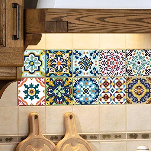 Extsud 10 stück Stickerfliesen 20x20 cm FliesenaufkleberFliesenfolieMosaikfliesenFliesen-Sticker Folie Aufkleber Selbstklebende Fliesenbilder für Badezimmer Küche Deko (Mittelmeer Stil)