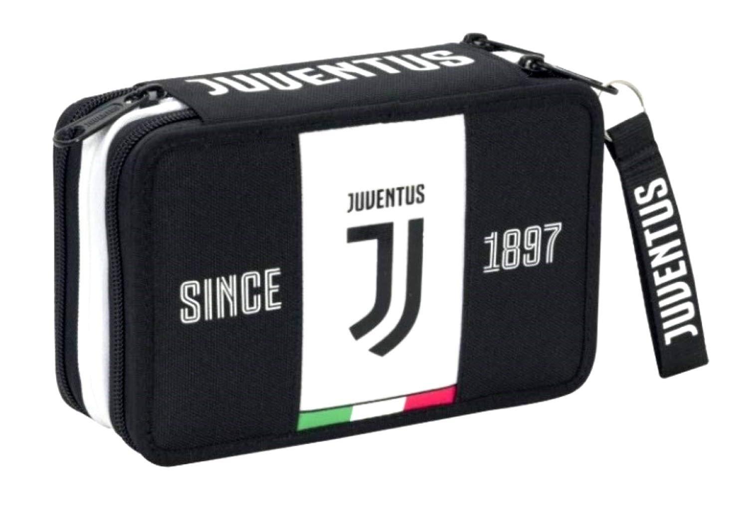 Estuche escolar Juventus Juventus Juve Seven de 3 pisos completo de color blanco + llavero silbato + bolígrafo de color + marcapáginas Juventus