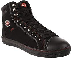 Lee Cooper Workwear SB/SRA Retro Baseball Boot, Unisex Modern Styling Safety Boot Work Safety Shoe, Boot Black, 6 UK (40 EU)