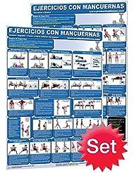 Ejercicios con mancuernas # 1.–Hombros y brazos y # 2. Centro/espalda/pecho y parte inferior del cuerpo mancuernas, Póster de entrenamiento/Chart Set (Spanish Edition)