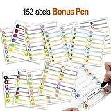 Etichette nome Etichette autoadesive Etichette per biberon Impermeabili, per bambini e adulti, 152 etichette con una penna bonus
