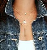 A-goo oro placcato A mano 3 strati catena bar collana perline lunga striscia ciondolo gioielli