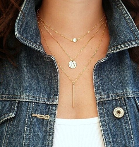 Elistelle MoonANKK0 Design Collar Pendant Choker Necklaces Mehrr Row Chain Necklaces for Women (I)