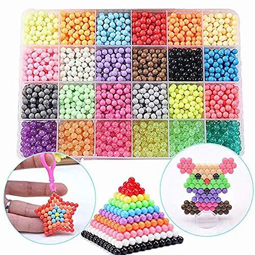 Queta Kinder DIY Perlen Spielzeug Starter-Set, FunBeads Nachfüll-Set mit 5 mm Perlen in Standardgröße, 24 Farben Kristall, 3000 Stück