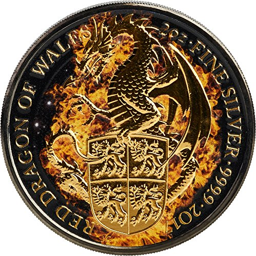 Power Coin Burning Dragon Brennender Drache Queen Beasts 2 Oz Silber Münze 5£ United Kingdom 2017 -