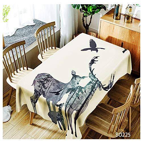 QWEASDZX Mantel Moda Creativa Estilo Nacional Poliéster Mantel Decorativo Antifouling A Prueba de Aceite Mantel Rectangular Adecuado para Interiores y Exteriores Reutilizable 100x140cm