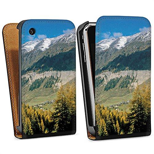 Apple iPhone 5s Housse Étui Protection Coque Montagne Colline Paysage Sac Downflip noir