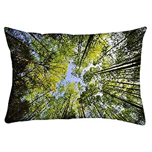 Snoogg Tall Trees Rectangle Toss Throw Pillow Cushion Cover Decoarative Pillow Case 14 x 7""