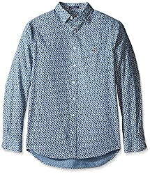 Gant Mens Minileaf Reg Town Collar Shirt, Indigo, Small