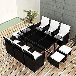 Festnight Salons de Jardin mobilier de Jardin Résine tressée 27 pcs 1 Table, 6 chaises, 4 tabourets et 16 Coussins