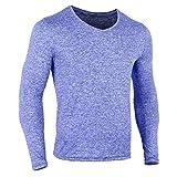 Musclealive Hommes La Musculation T-Shirt à Manches Longues Compression Faire des Exercices Slim Fit T-Shirt Polyester et Spandex
