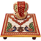 GiftNagri Handcrafted Kundan Meenakari Work 6 * 6 Inches Marble Chowki with Lord Ganesha