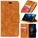 LG Q7 - Comfortable Leather Cover Wallet Style Flip Cover Case for LG Q7 ONLY (LG Q7 Cover Yellow)
