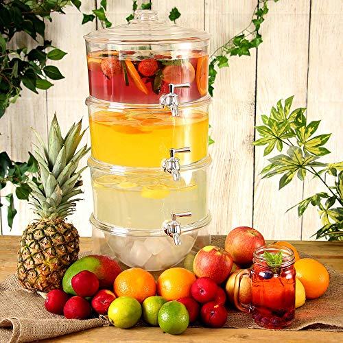 bar@drinkstuff 3-Fach unterteilter Getränkespender  10.5  Liter Unterteilter Getränkespender, Saftspender, Punch-Spender, Limonade- Spender